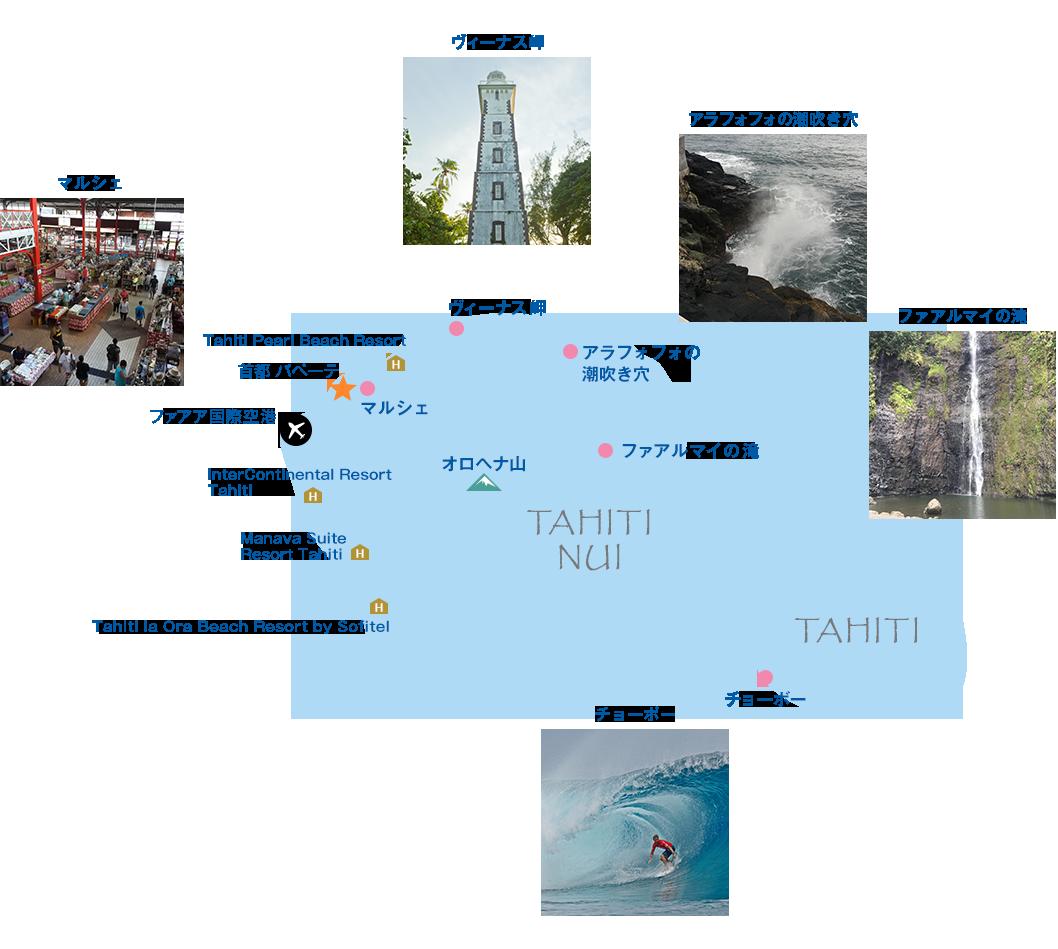 タヒチ島地図画像